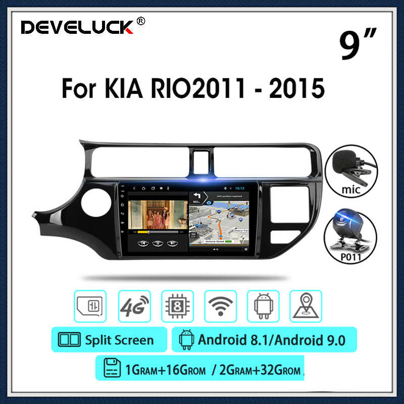 Android 9.0 9 ''Mobil Radio untuk KIA RIO 2011- 2015 2Din Multimedia Video Navigasi GPS Player 4G + Wifi Split Screen DSP Funtion