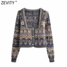 Zevity 2021 Women Vintage Square Collar Flower Print Jacquard Knitting Sweater Female Long Sleeve Chic Cardigans Coat Tops S652