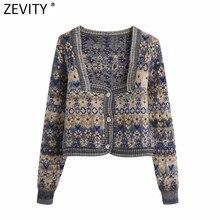 Zevity – cardigan en tricot Jacquard à manches longues pour femme, Vintage, col carré, imprimé floral, Chic, manteau, S652, 2021