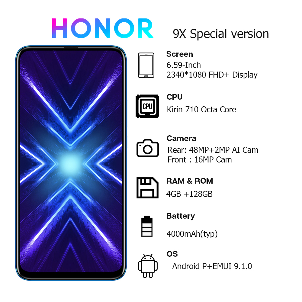 Huawei Honor 9X Global Version Smartphone 4GB+128GB 48MP Dual Camera Google Play NFC 6.59 inch 4000mAh Original New Smart Phone