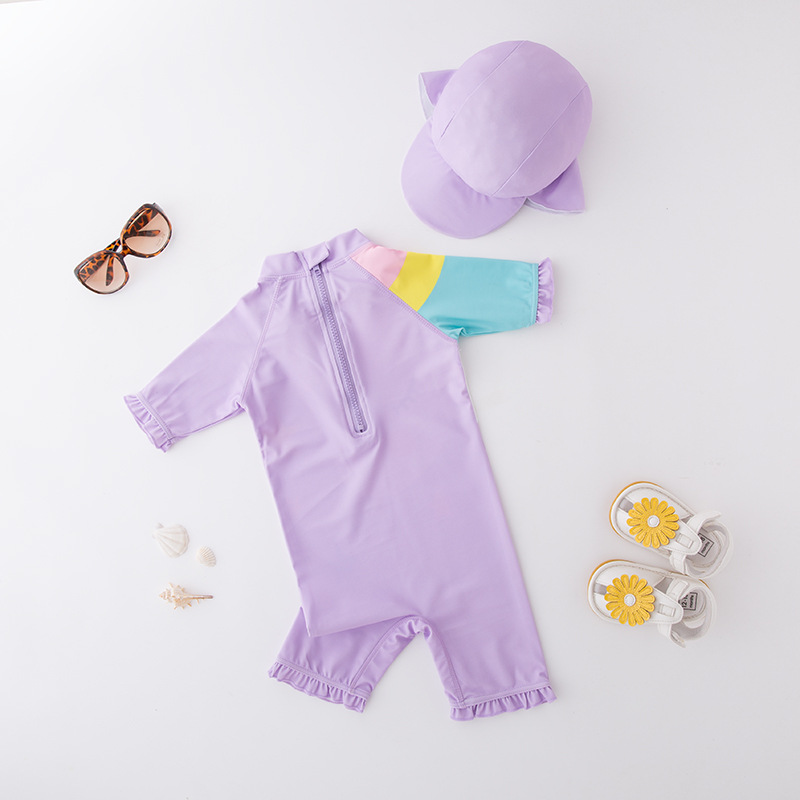 Girl'S One-piece Swimming Suit Long-sleeved Purple My Little With Hat-Children Hot Springs Bathing Suit