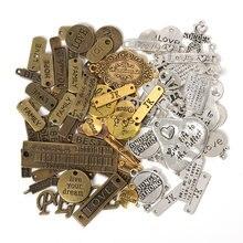 50 г 100 буквы Смешанные Подвески винтажные античные бронзовые
