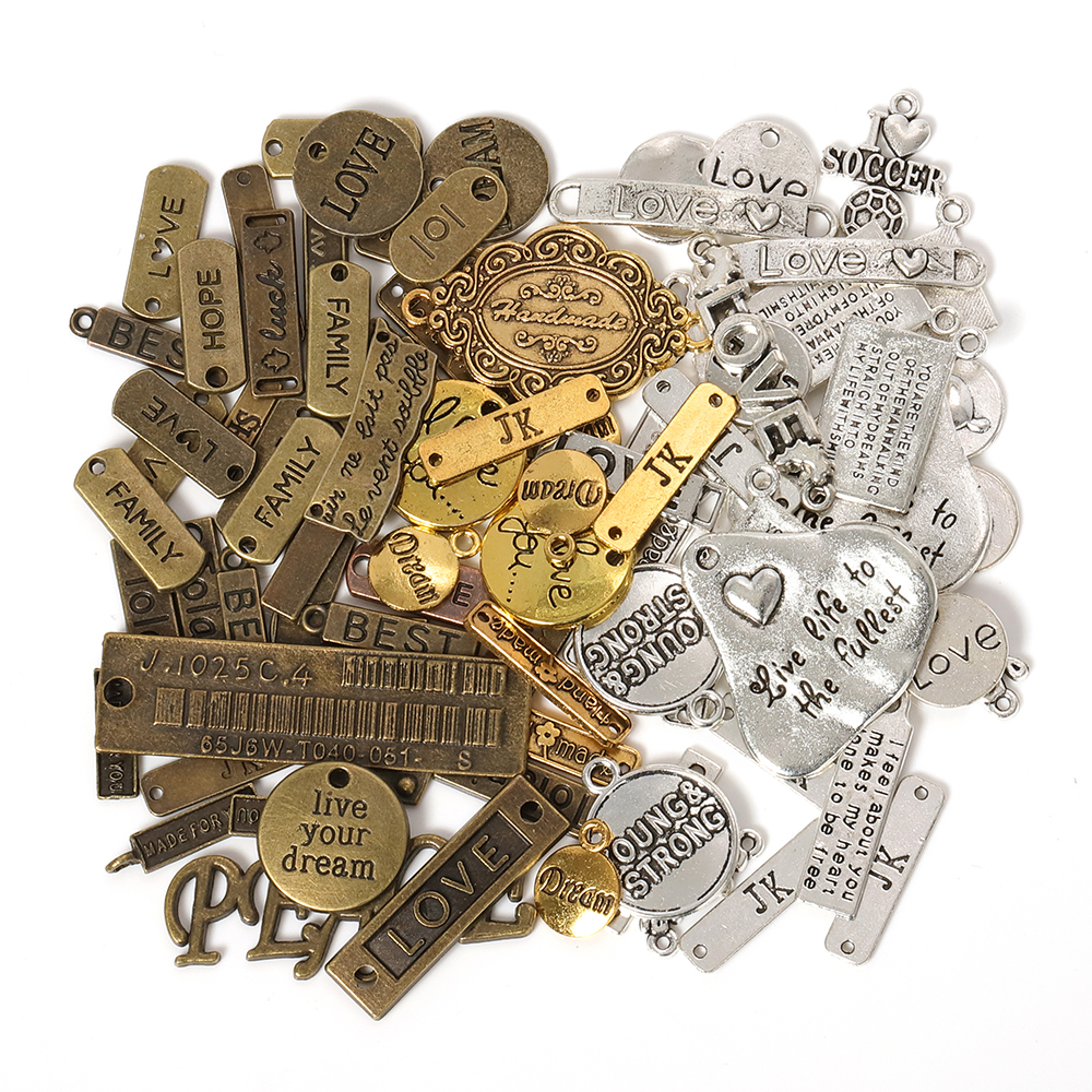 50g 100g Letters Mixed Charms Pendants Vintage Antique Bronze Silver Bracelets Necklaces Craft Metal Alloy DIY Jewelry Making