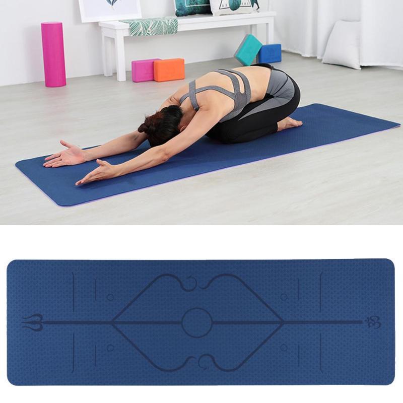 Professional Yoga Mats Portable Non-slip Fitness Equipment Yoga Mat TPE Dual Color Carpet Mat With Position Line For Beginner