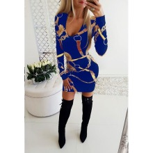 Fashion Casual Printing Sexy Mini Dress Women V neck Long Sleeve Autumn Winter Elastic Sheath Club Party