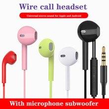 In-ear fone de ouvido universal android ios fone de ouvido estéreo com microfone baixo pesado 3.5mm com fio fones de ouvido subwoofer indolor