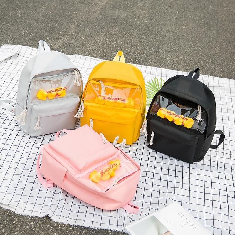 Female Backpack 2020 School Bag Fashion Oxford waterproof Cute Duck  Teenager Girl Shoulder Bag Casual Backpack