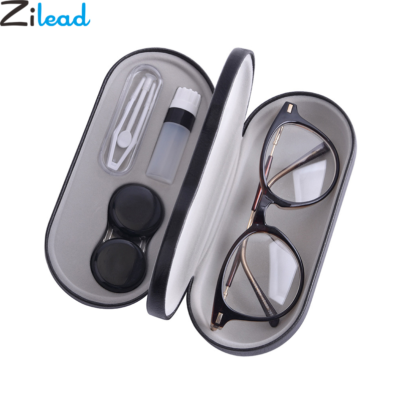 Zilead Double Interlayer Metal Contact Lens Case Glasses Case Multi-function Eyewear Box Dual Purpose PU Reading Glasses Case
