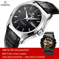 STARKING-Reloj de pulsera para hombre, de zafiro, impermeable, reloj mecánico automático masculino, de viento, Miyota 82015, de regalo