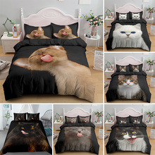 Funny Cute Cat King Queen Bedding Set Full Size For Adult Kids Bed Covers Animal Duvet Cover Sets With Pillowcase 2/3pcs