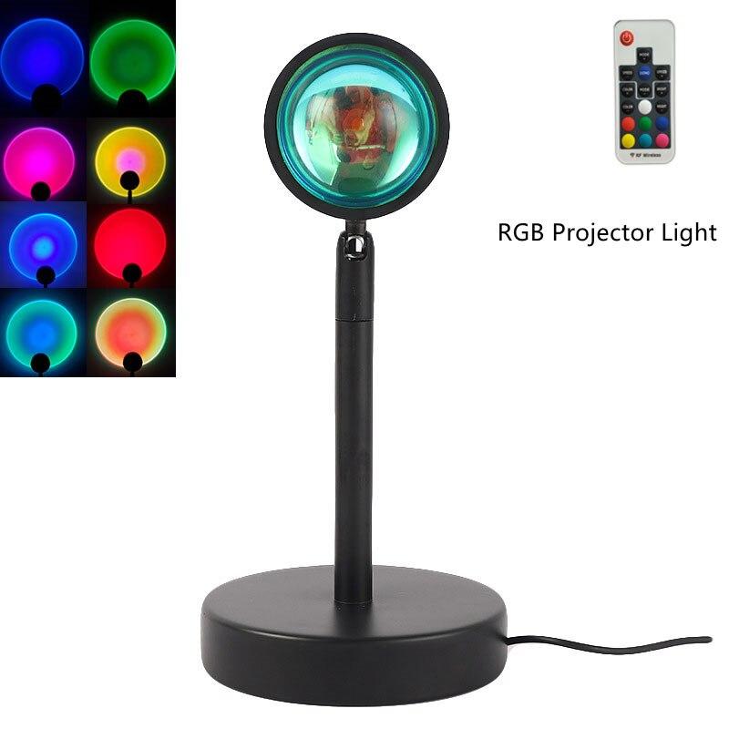 Новая RGB проекционная лампа с дистанционным управлением и закатом, радужная атмосфера, светодиодный светильник для дома, спальни, магазина, ...