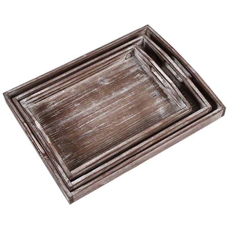 Plateau de rangement en bois massif assiette de fruits de ménage ensemble de trois pièces assiette en bois Antique avec poignée-grand, moyen et petit Ne