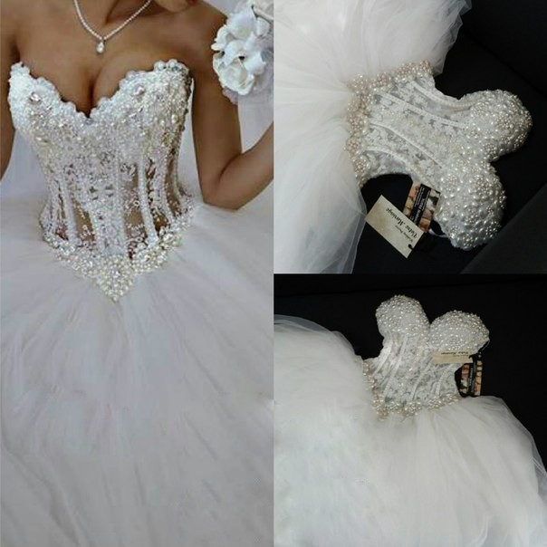 Luxurious Bling Strapless Corset Bodice Sheer Ball Crystal Pearl Beads Rhinestones Bridal Gown 2018 Mother Of The Bride Dresses