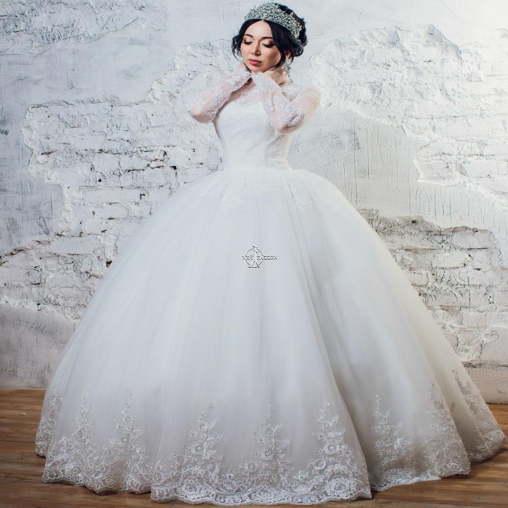 Vintage Long Sleeves Lace Wedding-Dresses White Ivory Tull Skirt Lace Edge Princess Bridal Gown Skirt Vestido De Noiva