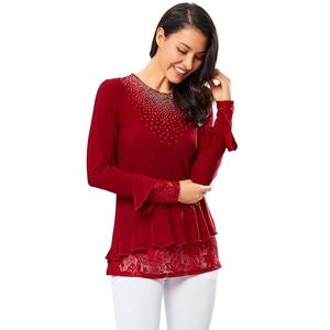 Image 3 - YTL elegante blusa de mujer otoño rojo cuello redondo decoración de diamante manga de llamarada camisa Casual para la boda de talla grande 7XL 8XL H270