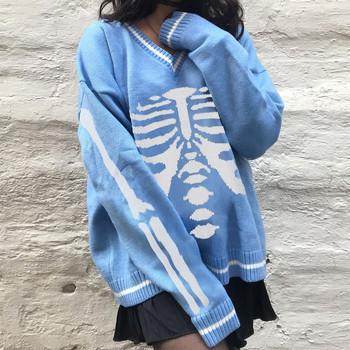 Swetry jesień zima szkielet swetry Halloween V-Neck swetry luźne Casual Y2K dzianinowe swetry damskie Streetwear bluzki Retro tanie i dobre opinie Drukuj REGULAR POLIESTER spandex CN (pochodzenie) NONE Pełne STANDARD Brak Na co dzień A-proste Dla osób w wieku 18-35 lat
