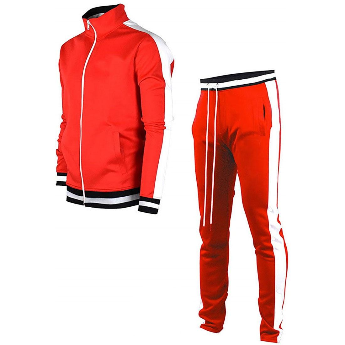 MJARTORIA Men's Jacket + Pants Tracksuit Male Splice Long Sleeve red black Casual Set Male Pocket Zipper Design Men Sportswear