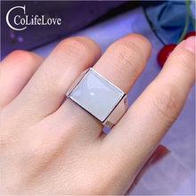Кольцо мужское из серебра 925 пробы с нефритом 13 х15 мм