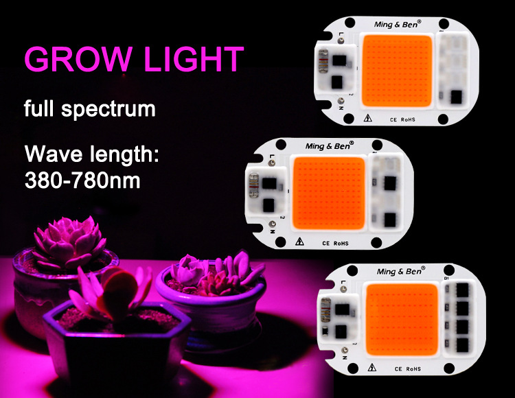 Full Spectrum DIY Plant Vegetable Growth Light Free Driver COB Light Source Grow380-780nm Full Band 110V 220V Lamp Beads
