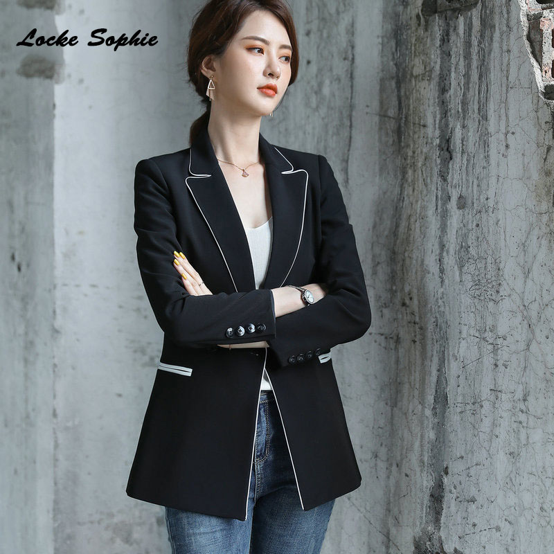 Women Slim Fit Blazers Coats 2019 Autumn Cotton Blend Long Sleeves Button Small Suits Jackets Ladies Skinny Formal Blazers Suits