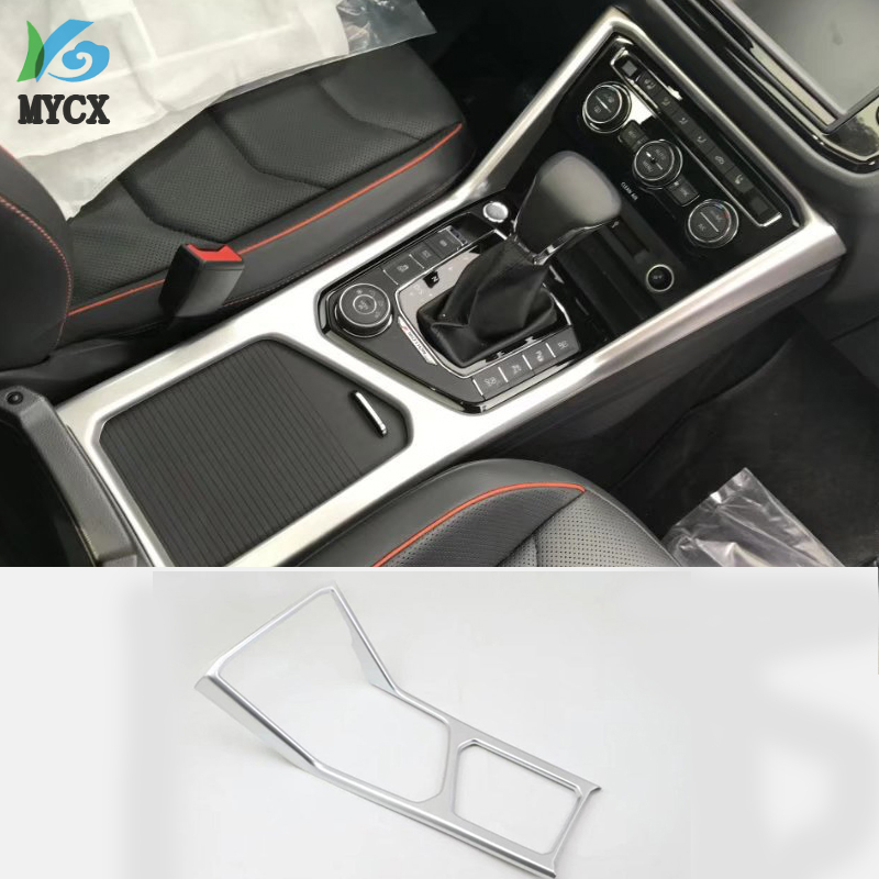 ABS Matte Overall Gear Box Cover Water Cup Frame Sequins Trim For Volkswagen Tiguan L 2017 2018 2019 Interior Accessories 1PCS image