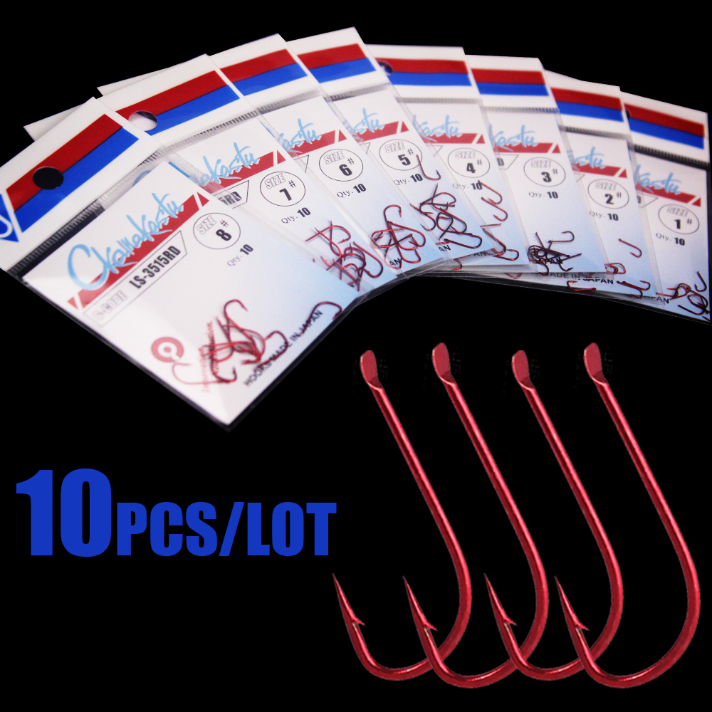 10pcs/lot Sode Red 1#-8#  Barbed Non-barbed Fishing Hooks Circle High Carbon Steel Sharpened Bait Tackle Strong Gamakatsu