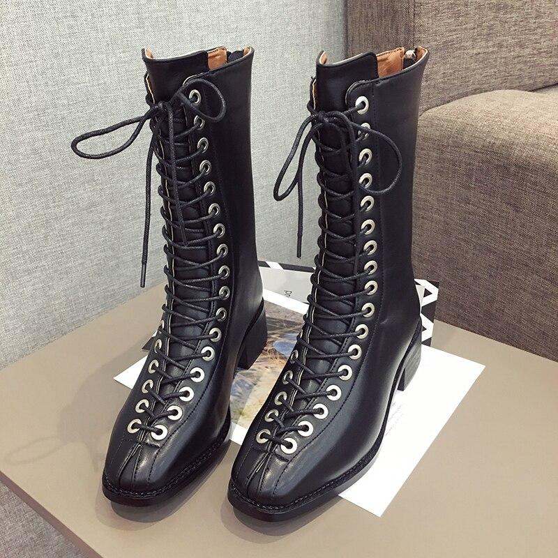 Brand stars punk motorcycle boot roman cross strap back zip leather high upper winter martin boots women plush warm booties 2019