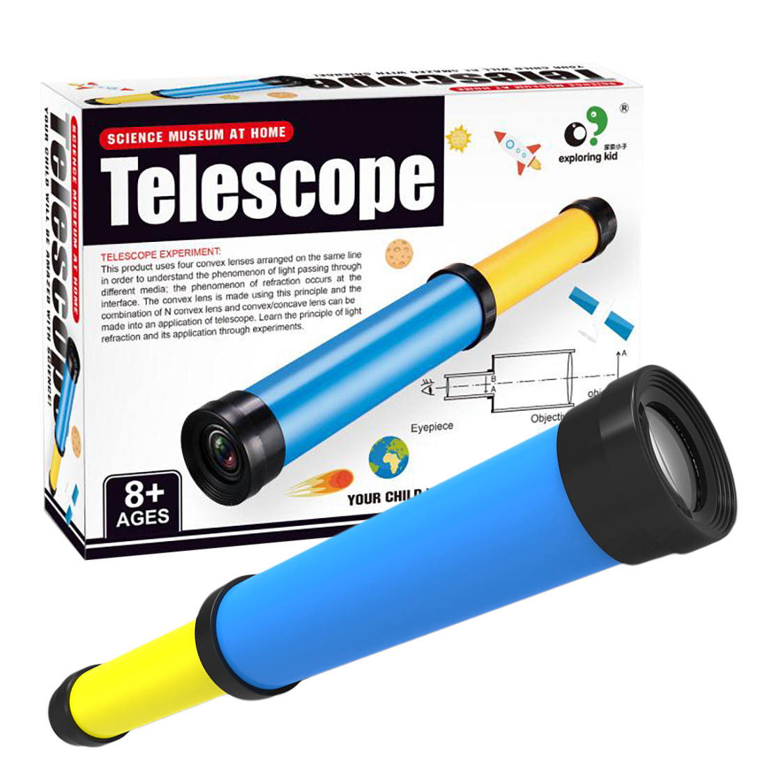 Rowsfire Telescope Experiment Science Kits Educational Toy for Kids Learning Education Science Toy
