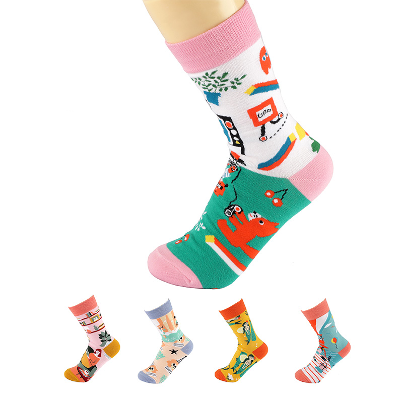 2 pièces = 1 paires chaussettes femmes mode chaussettes 2021 Style japonais et coréen coton Art créatif mode femmes chaussettes