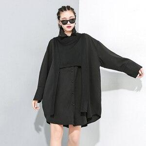 Image 5 - [Eam] feminino preto divisão conjunta tamanho grande duas peças blusa nova lapela manga longa solto ajuste camisa moda primavera outono 2020 1m889