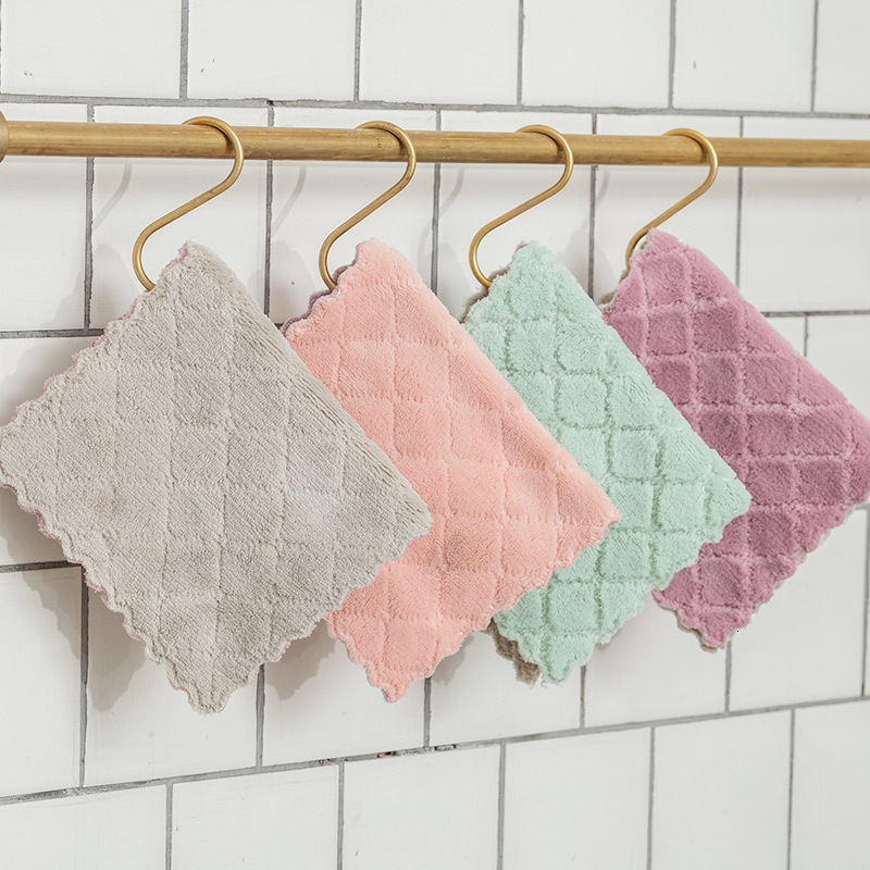Two-color Absorbent Rag Double-layer Thickening Dish Cleaning Cloth Kitchen Non-stick Oil Dish Towel Wipe Bowl Scouring Cloth