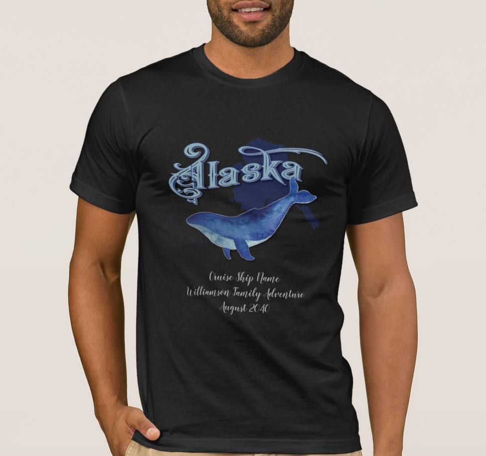 Alaska Cruise Family Vacation Whale Monogram Men's T Shirt image