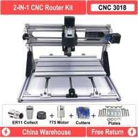CNC Router Machine 3018 With Upgraded Main Board With GRBL Software 0.5W 2.5W 5.5W 15W laser