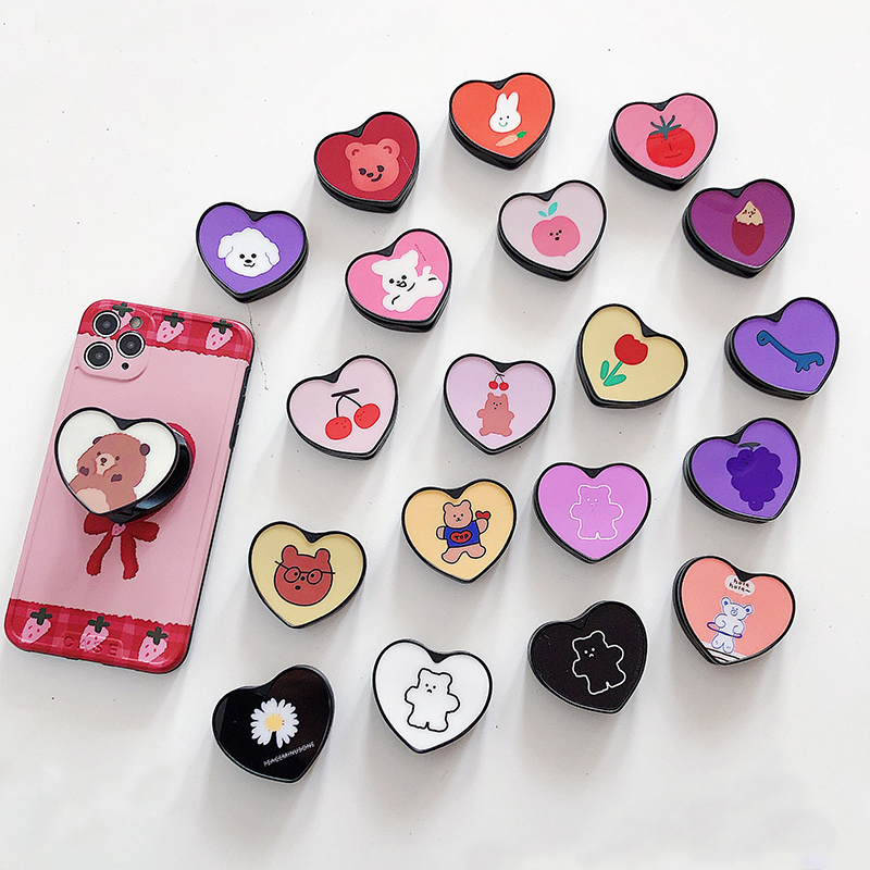 Cute Heart Folding Stand For Mobile Phone Holder For IPhone 11 For Samsung For Huawei Case Cartoon 360° Rotation Grip Kichstand