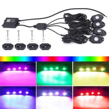4 Pod RGB LED Rock Lights Offroad Music Wireless Bluetooth Control ATV