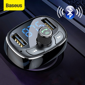 Baseus FM Transmitter Modulator Bluetooth Handsfree Car Kit Audio MP3 Player with 3.4A Dual USB Car FM Transmittor Phone Charger(China)