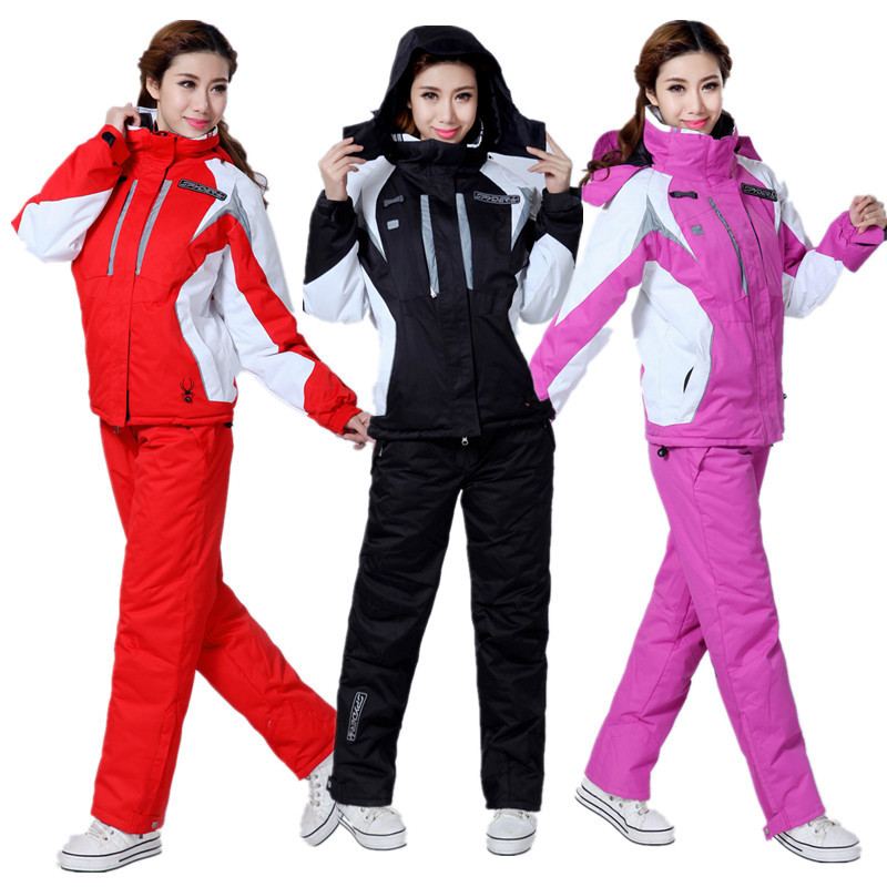 2020 New Thicken Warm Windproof Winter Women Snowboard Set Ski Jacket And Pant Suits Female Ski Wear Waterproof Snow Skiing Suit