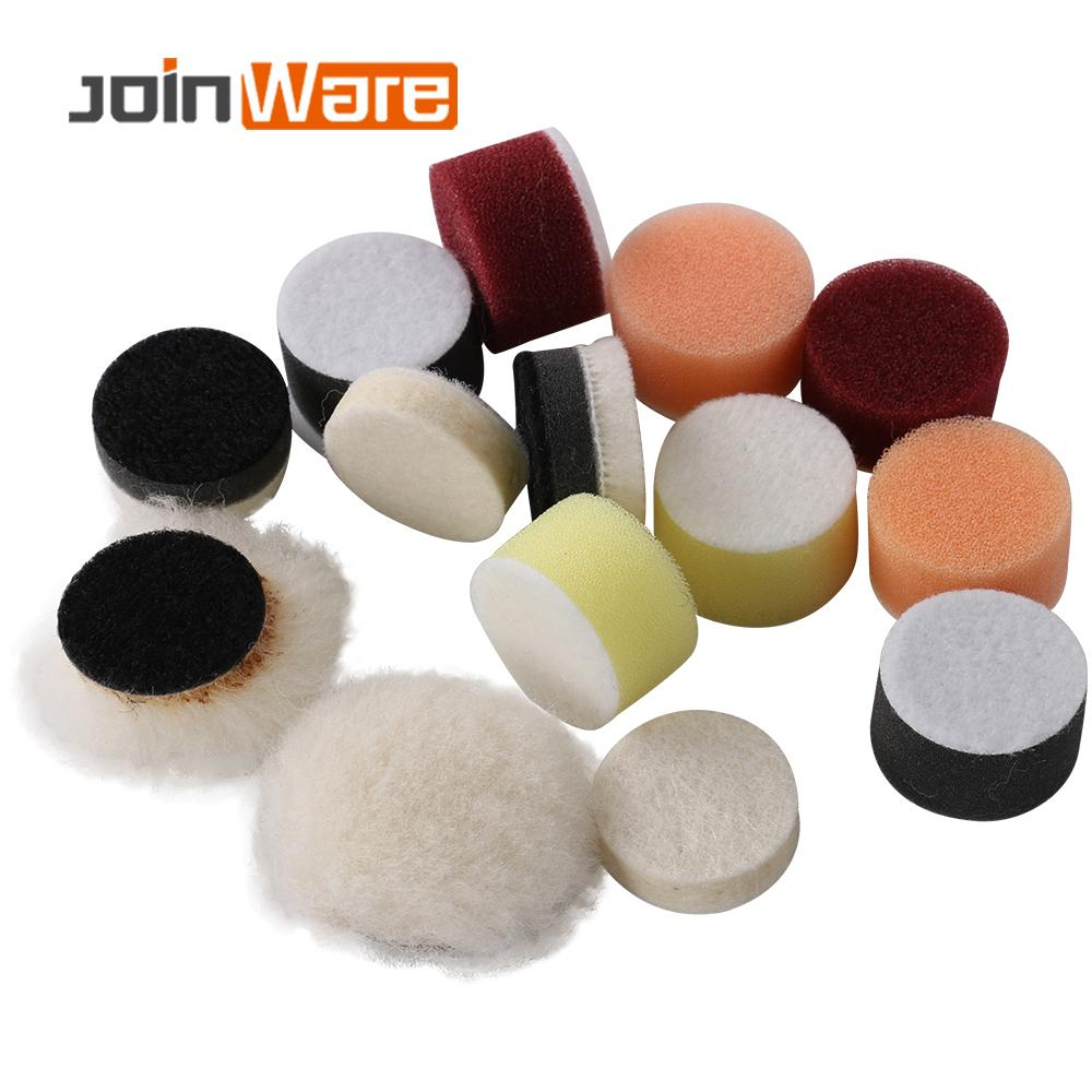 14Pcs 1inch Polishing Pad Kit  Fine Wool Pad Waxing Sponge Car Polish Buffing Pad Kit