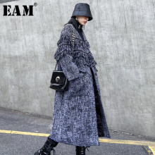 [EAM] Loose Fit Gray Tweed Big Size Long Woolen Coat Parkas New Long Sleeve Women Fashion Tide Autumn Winter 2019 19A-a845(China)