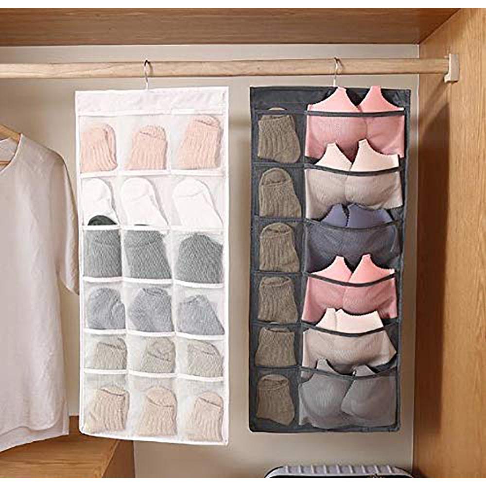 Double Sided Hanging Bag for Socks Bra Underwear Rack Hanger Storage Organizer
