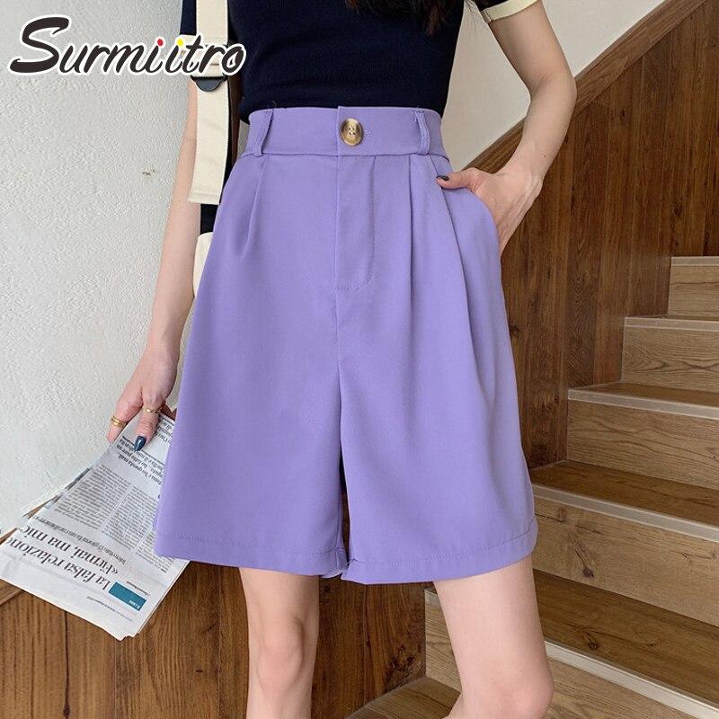 SURMIITRO Wide Leg Shorts Women 2020 Summer Korean Capris White Black Purple Short Pants Femme High Waist Female Shorts