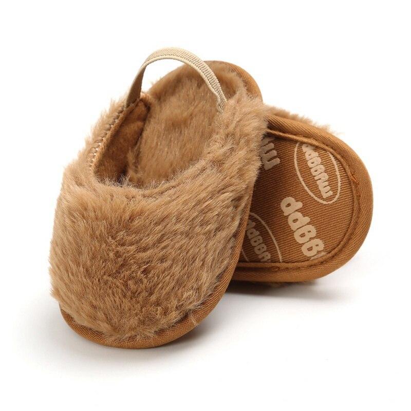 Cute Baby Girl Shoes 0-18M Plush Soft Slide Slip On Flat Slipper Casual Infant Crib Shoes Lovely Toddler Shoes