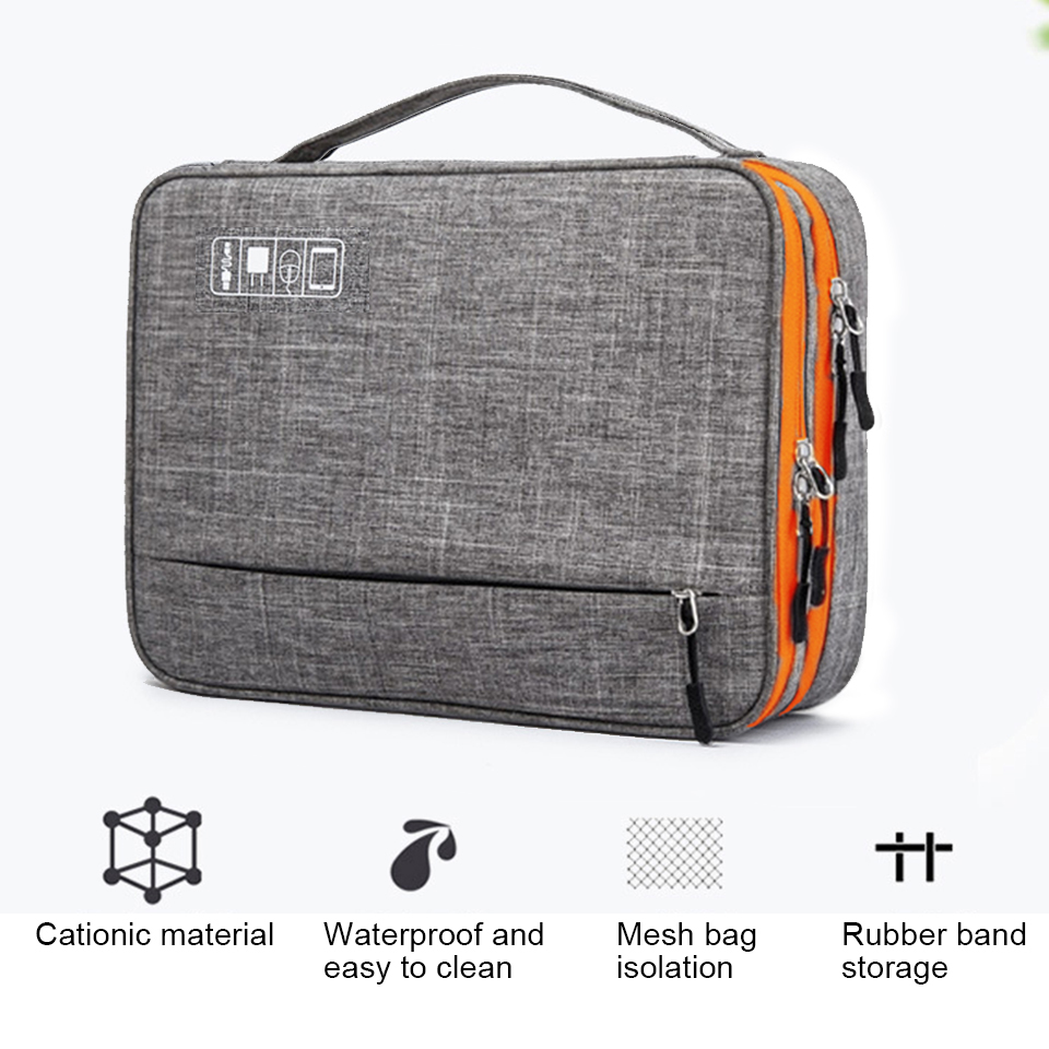 lowest price Double Layer Electronic Accessories Storage Bag Separate Room amp Detach Strips Portable Organizer Case for iPadHard DrivesCables