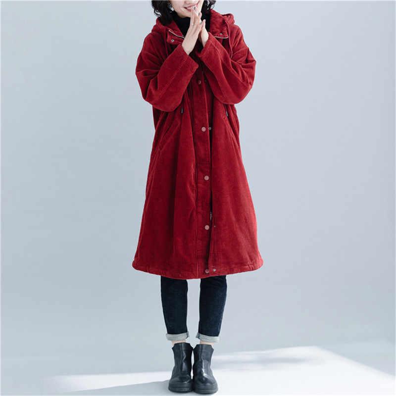 大サイズの女性パーカーコーデュロイミッドロング厚いフード付きコート 2019 冬ルースプラスベルベット暖かいジャケット赤女性生き抜く JIU012