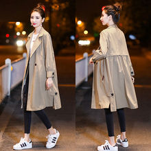 Women Long Autumn Trench Big Size Loose Wist Sexy Autumn Solid Pocket Coat Long