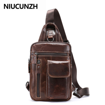 NIUCUNZH Men's Bag Genuine Leather Messenger Bag Men Leather Shoulder Bags Man Male Chest Pack Sling / Crossbody Bags for Men qibolu genuine leather mens sling bag single shoulder bag men chest pack messenger crossbody bag for man bolsas masculina mba37