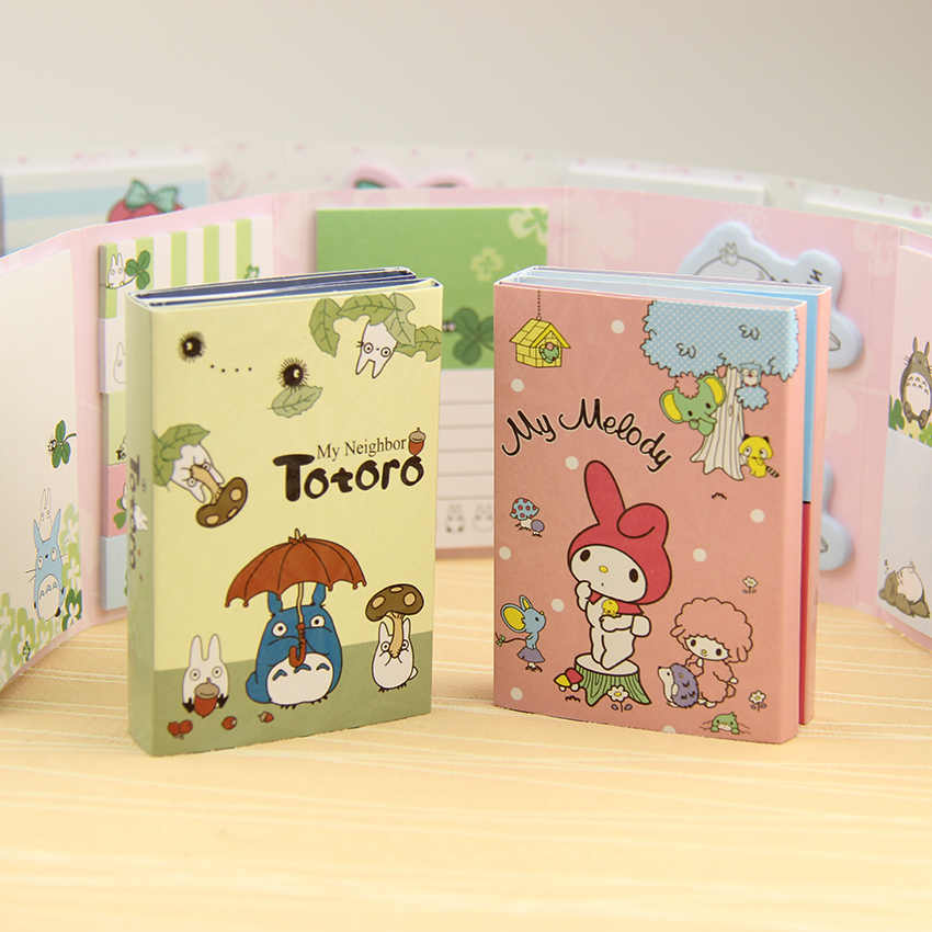 Kawaii Totoro Melody 6 Folding Memo Pad Sticky Notes Memo Notepad Bookmark Gift Stationery 1 PC