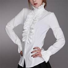 Moda vitoriana feminino ol escritório senhoras camisa branca gola alta babados plissado punhos camisas blusa feminina punhos blusa outono