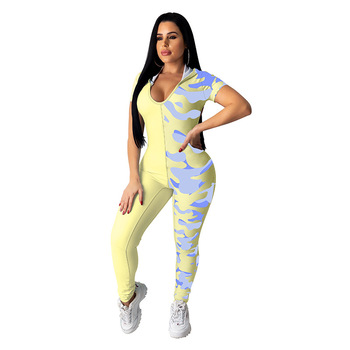 Summer Women Patchwork Butterfly Print Hoodies Jumpsuit V-Neck Backless Street Rompers Hollow Out Skinny One Piece Outfits butterfly print v neck asymmetric slip top