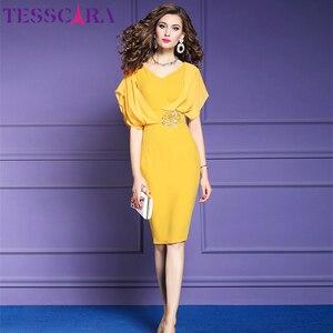 Image 5 - TESSCARA elegante vestido de oficina de verano para mujer, moda femenina, vestido de fiesta tipo lápiz, Estilo Vintage, de gasa, diseño Imperio